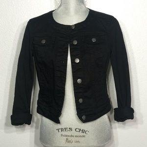 Elle black denim jacket button front